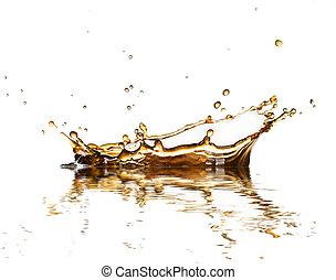 brązowy, kawa, płyn, odizolowany, bryzg, tło, cola, biały, ...