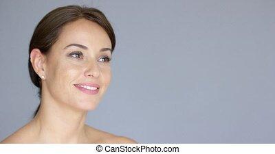 brązowy, kobieta, przestrzeń, młody, włosy, uśmiechanie się, kopia
