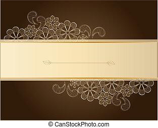 brązowy, koronka