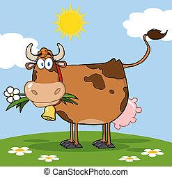 brązowy, kwiat, usta, krowa