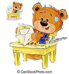brązowy, miłość, posiedzenie, teddy, koperta, ilustracja, pisemny, wektor, niedźwiedź, litera, kłaść, poczta, stół