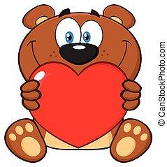 brązowy, miłość, teddy, litera, niedźwiedź, valentine, serce, dzierżawa, uśmiechanie się, rysunek, maskotka