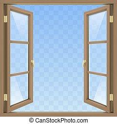brązowy, okno, otwarty