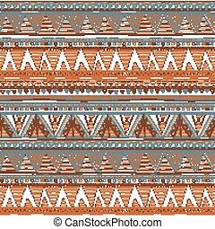 brązowy, opakowanie, abstrakcyjny, etniczny, pattern., seamless, aztek, albo, tło., wektor, cyfrowy, geometryczny, paper.
