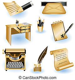 brązowy, pisanie, ikony
