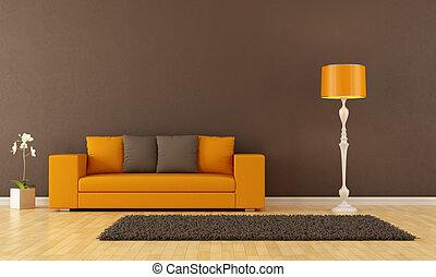 brązowy, pokój, żyjący