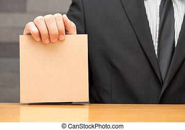 brązowy, pokaz, książka, biznesmen, ręka