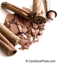 brązowy, przybory, makijaż, kasownik, tony