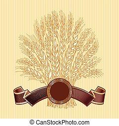 brązowy, pszeniczny snop, ręka, elegancki, beżowe tło, pociągnięty, chorągiew