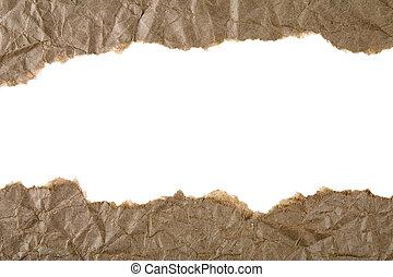 brązowy, rozerwał, papier