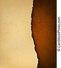 brązowy, rozerwał, stary, leather., ilustracja, papier, ...