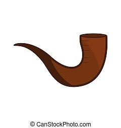 brązowy, shofar, odizolowany, ikona