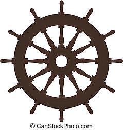 brązowy, stary, nawigacja, barwa, ster, statek