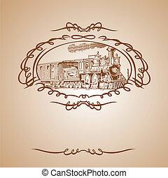 brązowy, stary, pociąg, chorągiew
