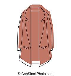 brązowy, styl, ikony, doodle, płaszcz, odizolowany, ilustracja, wektor, projektować, sieć, biały