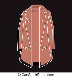 brązowy, styl, ikony, doodle, płaszcz, odizolowany, ilustracja, wektor, projektować, sieć