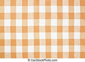 brązowy, tablecloth, zaszachowany, albo, żółty