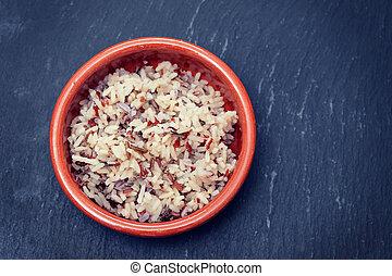 brązowy, urżnięty, zdrowy, garnek, ceramiczny, ryż