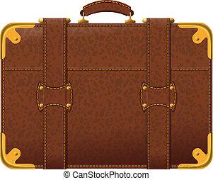 brązowy, walizka