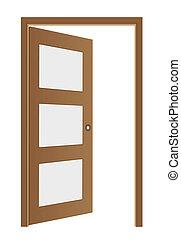 brązowy, wektor, otworzony, drzwi
