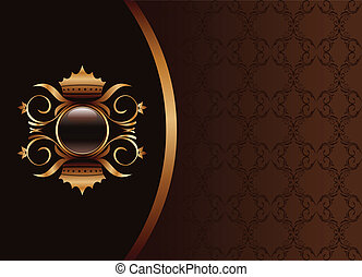brązowy, złoty, ułożyć, -, ilustracja, elegancki, uszczelka, wektor, czarnoskóry, zaproszenie, projektować, albo