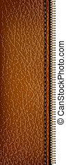 brązowy, zipper., skóra, ilustracja, wektor, struktura, tło