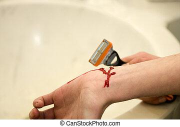 braço, de, um, mulher jovem, tentando suicide, com, navalha