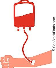 braço, saco, doação, doador sangue