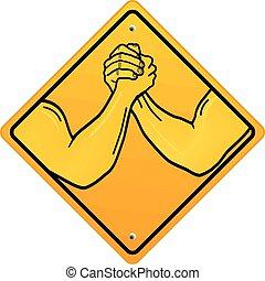 braços, dois, armwrestling