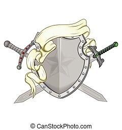 braços, espada, vetorial, desenho, agasalho, fita