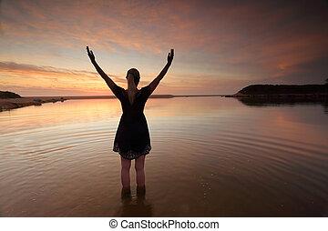 braços, perfeitos, sucesso, estendido, mulher, dia, elogiar