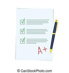 bra, ark, undersökande resulterar, penna, papper