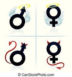 bra, och, ont, bemanna kvinna, pojke, flicka, symboler