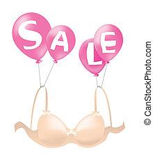Bra on sale - Beautiful bra, hanging on balloons announcing...
