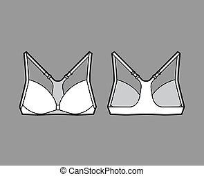 Bra racerback front closure lingerie technical fashion ...