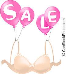 Bra sale - Beautiful bra, hanging on balloons announcing...