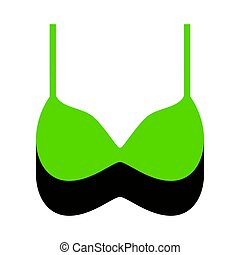 Bra simple sign. Vector. Green 3d icon with black side on white