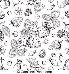 braambes, schets, kers, dessert, drawing., ouderwetse , pattern., hand, aardbei, vector, menu, achtergrond, veenbes, getrokken, besjes, bos
