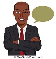 bracci piegati, giovane, americano, discorso, africano, uomo affari, bolla