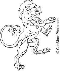 braccia, cresta, leone, cappotto