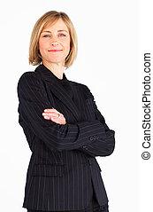 braccia, fiducioso, businessmanager, piegato