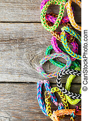 braccialetti, colorito, legno, grigio, elastico, fondo