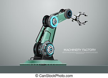 braccio, fabbrica, robot, robotic, mano, macchina