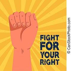 braccio, lotta, elevato, pugno, tuo, rivoluzione, protesta, destra