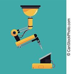 braccio, robot industriale, meccanico