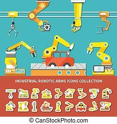 braccio, robotic, composizione, colorato