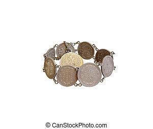 Bracelet of old coins