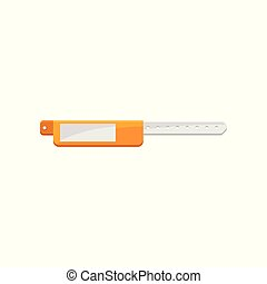 Bracelet, orange ad white template for security access, control or identification at events vector Illustration on a white background