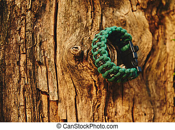 Bracelet paracord is hanging on a tree in autumn forest, no...