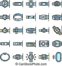 bracelet, plat, fitness, ensemble, icônes, vecteur